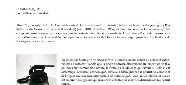 Daria Colonna : finaliste aux Pris littéraires du Gouverneur général
